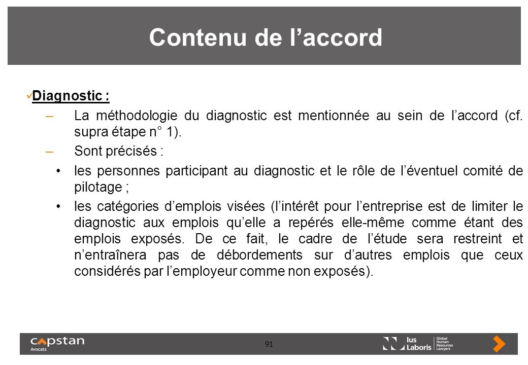 Contenu de l'accord Diagnostic :