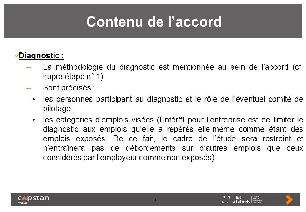 Contenu de l'accord Diagnostic :