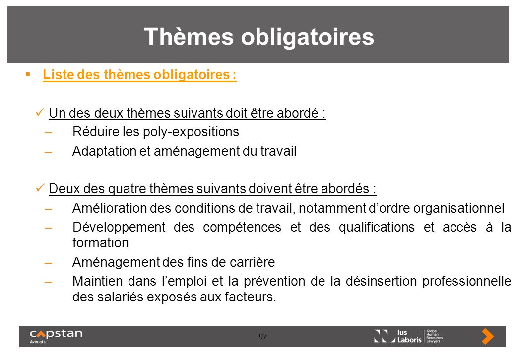 Thèmes obligatoires Liste des thèmes obligatoires :