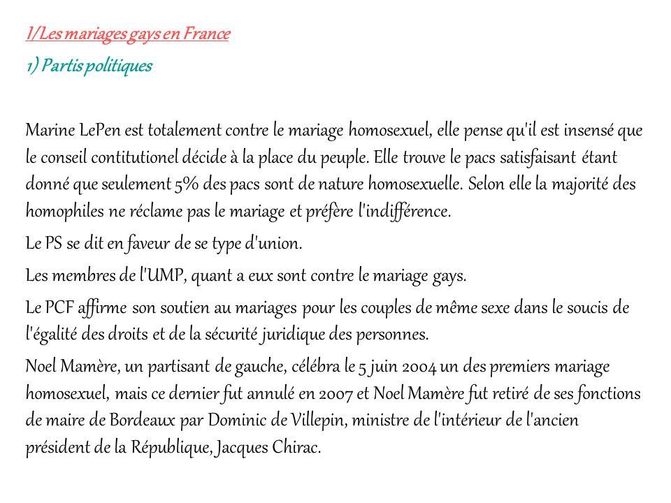 I/Les mariages gays en France