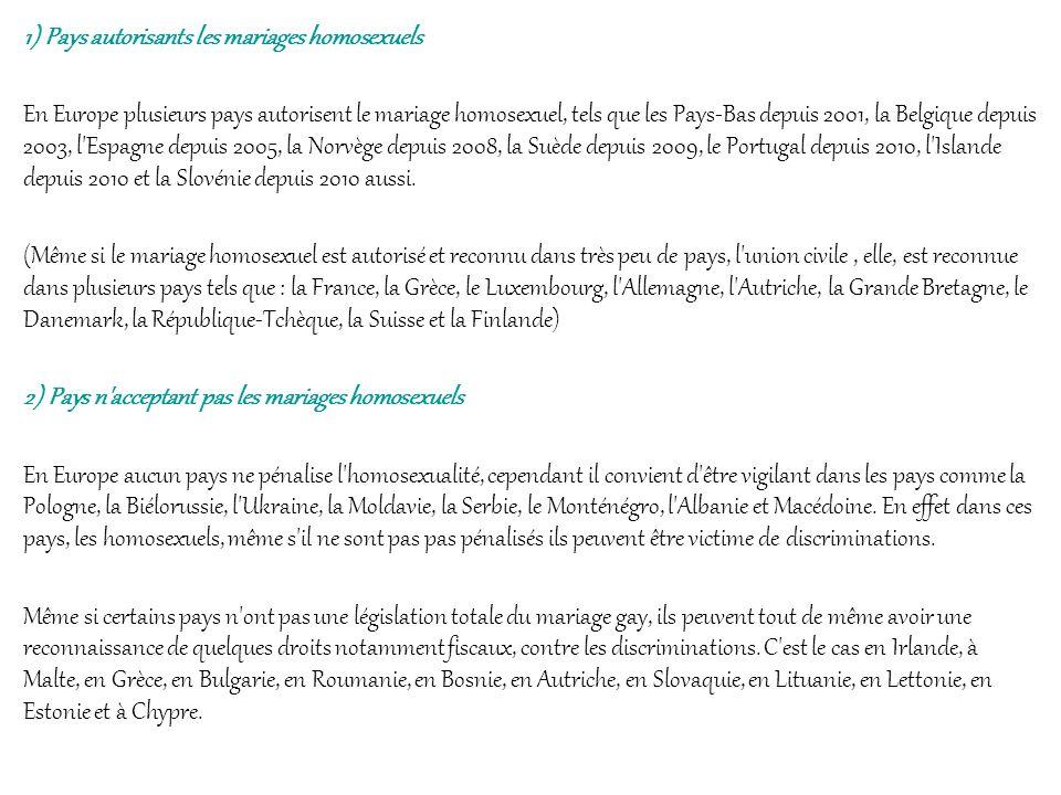 1) Pays autorisants les mariages homosexuels