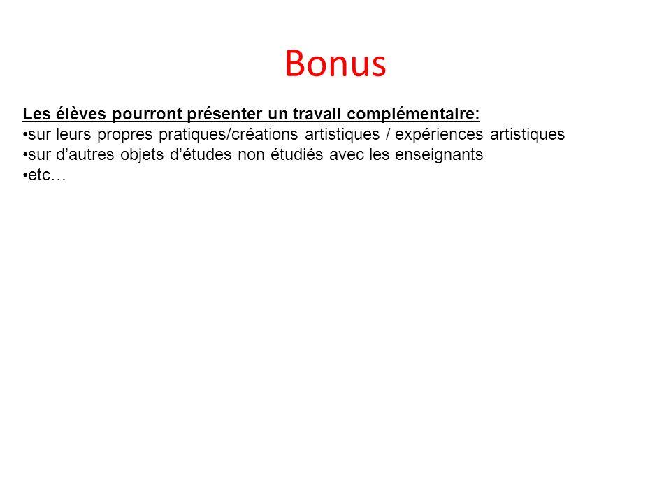 Bonus Les élèves pourront présenter un travail complémentaire: