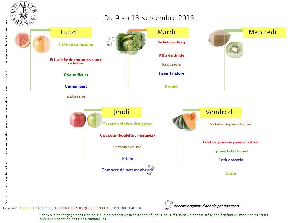 Du 9 au 13 septembre 2013 Salade iceberg Rôti de dinde Riz créole