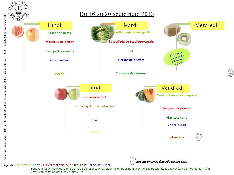 Du 16 au 20 septembre 2013 Carottes râpées vinaigrette Salade de pates