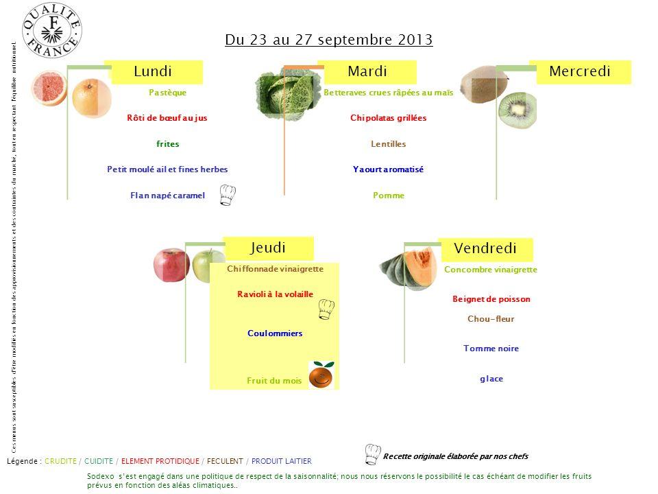 Du 23 au 27 septembre 2013 Pastèque Rôti de bœuf au jus frites