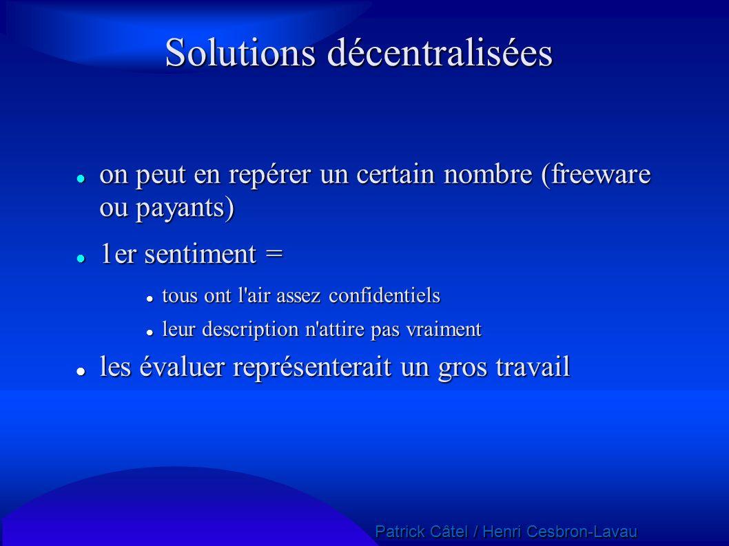 Solutions décentralisées