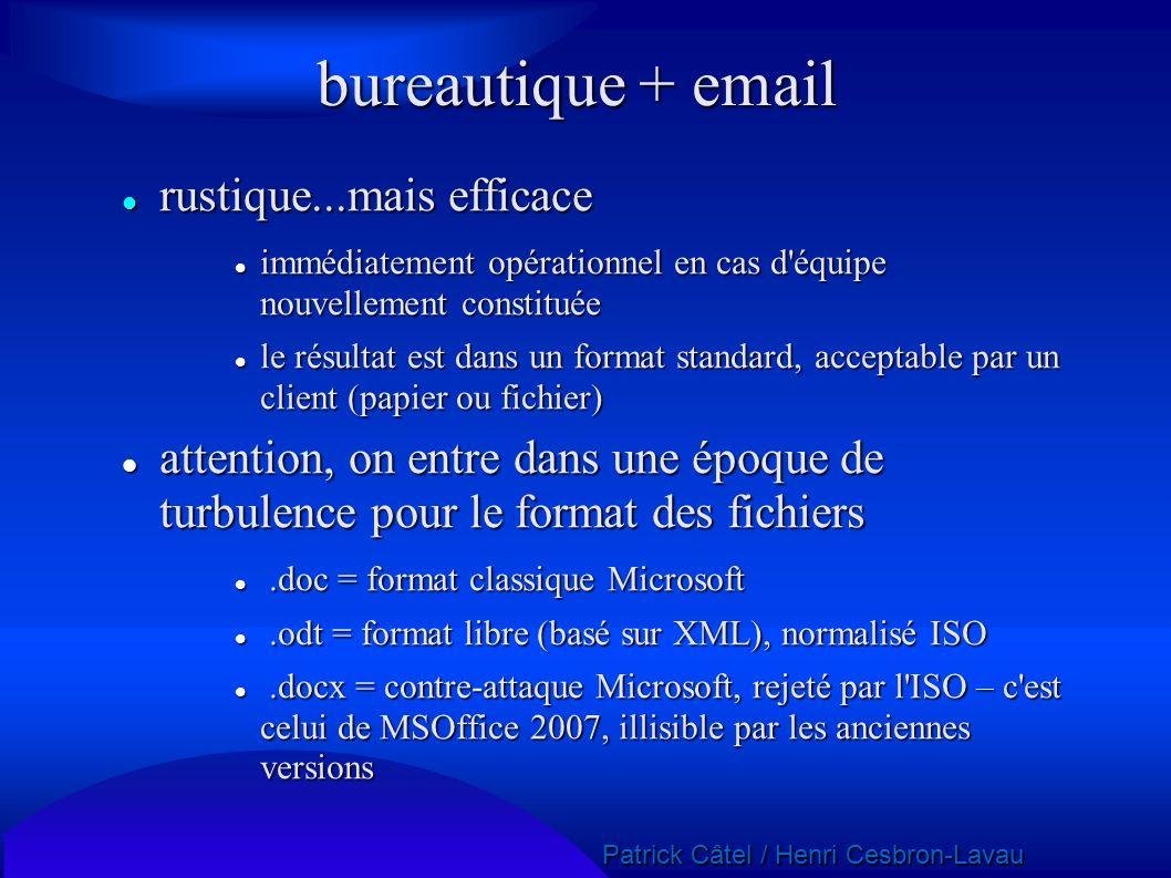bureautique + email rustique...mais efficace