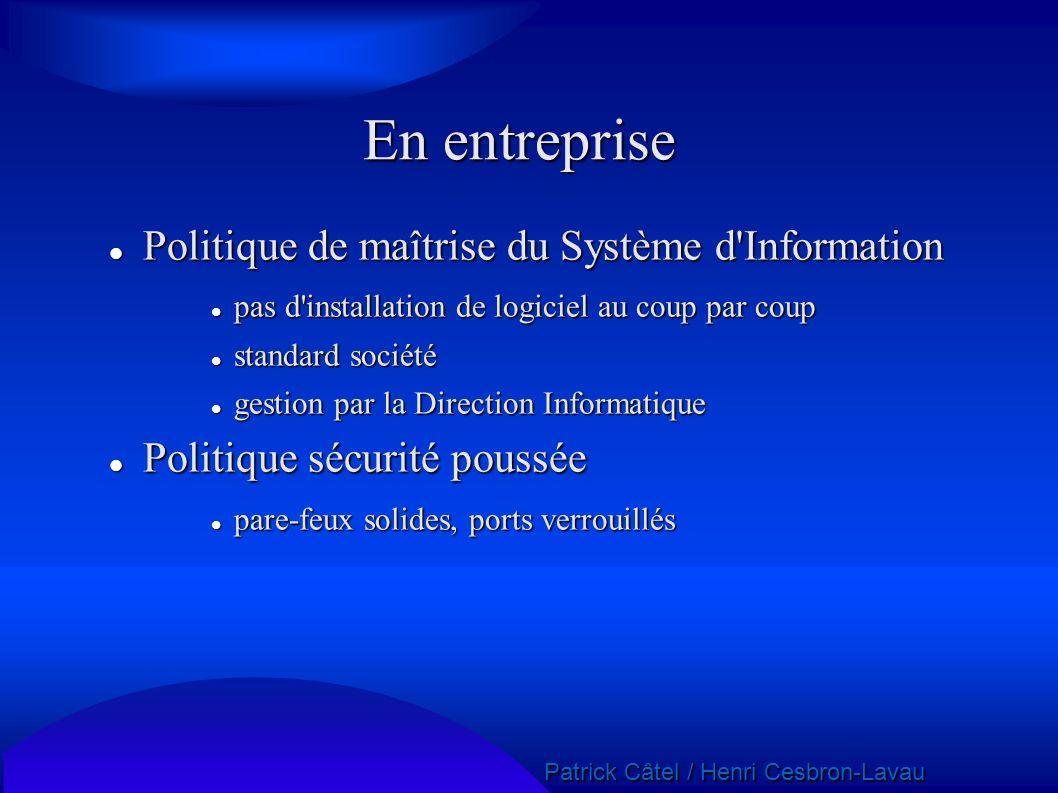 En entreprise Politique de maîtrise du Système d Information
