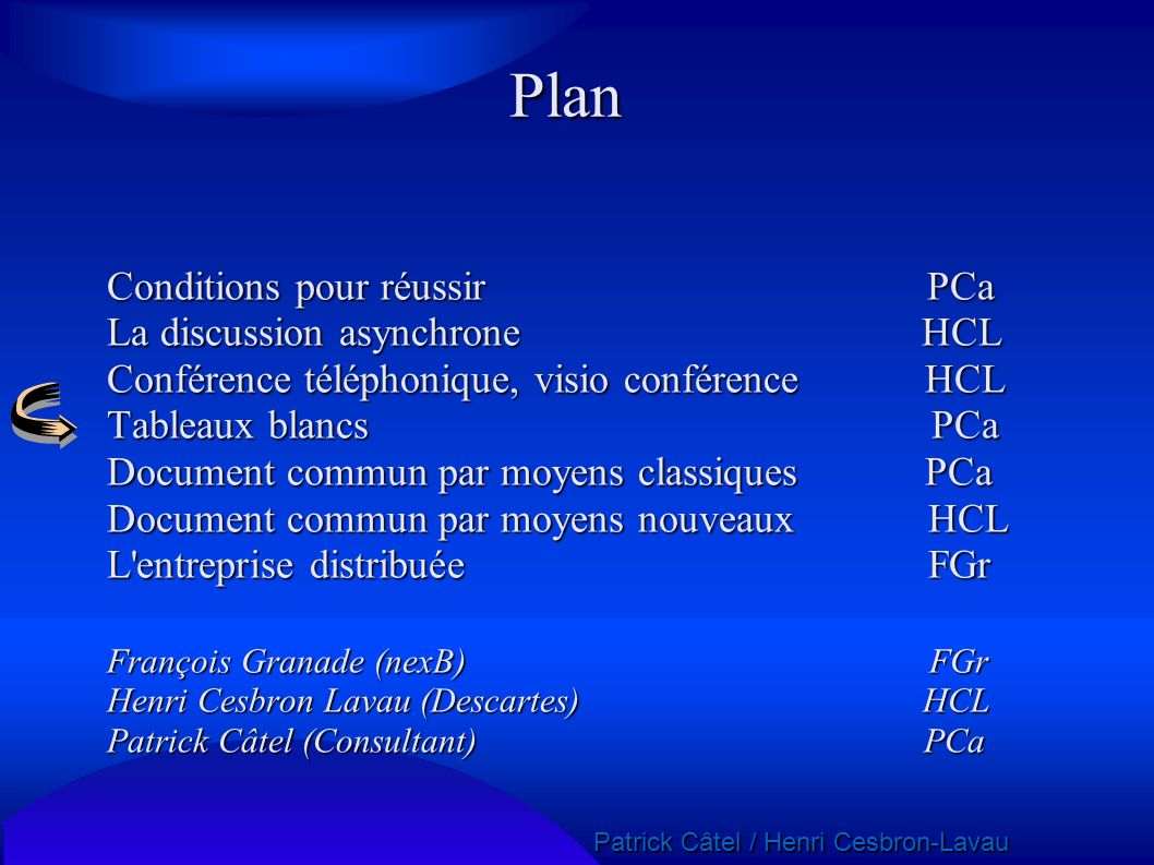 Plan Conditions pour réussir PCa La discussion asynchrone HCL