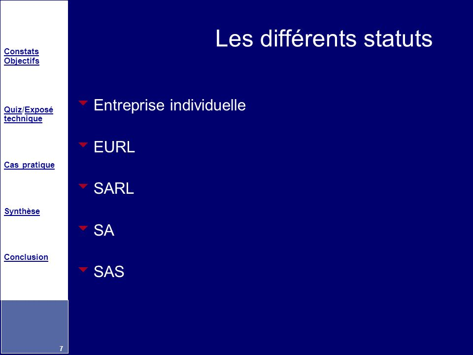 Les différents statuts