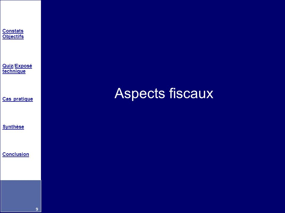 Aspects fiscaux