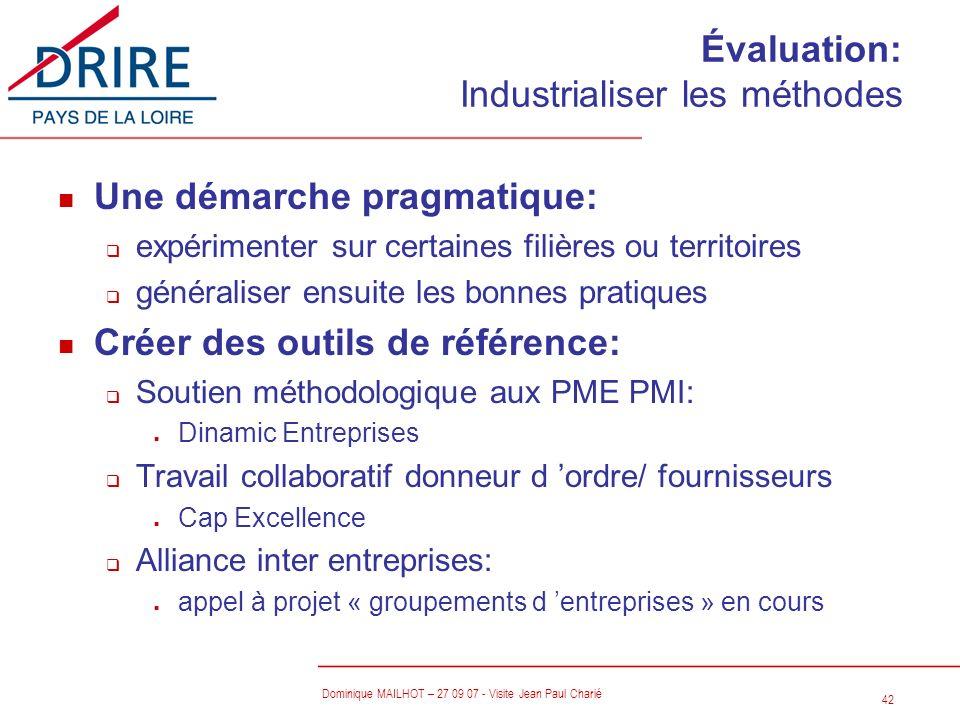 Évaluation: Industrialiser les méthodes
