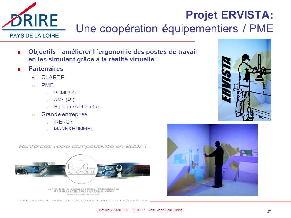 Projet ERVISTA: Une coopération équipementiers / PME