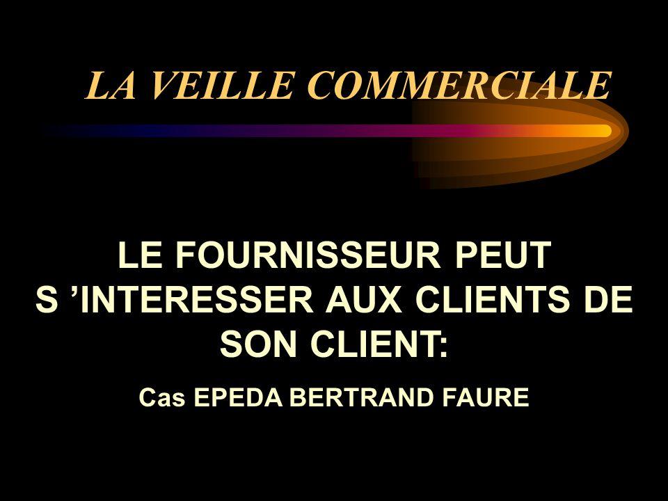 LA VEILLE COMMERCIALE LE FOURNISSEUR PEUT S 'INTERESSER AUX CLIENTS DE SON CLIENT: Cas EPEDA BERTRAND FAURE.