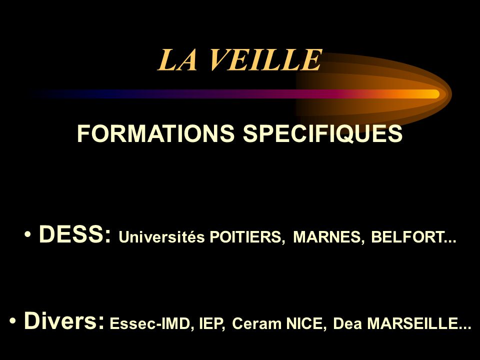 LA VEILLE FORMATIONS SPECIFIQUES