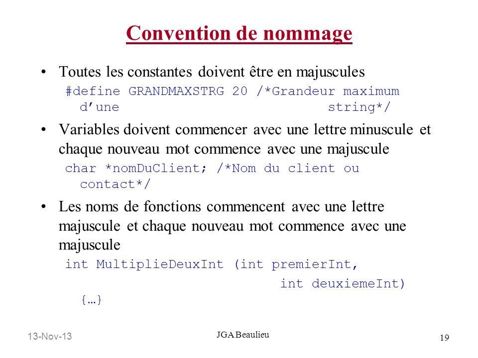 Convention de nommage Toutes les constantes doivent être en majuscules