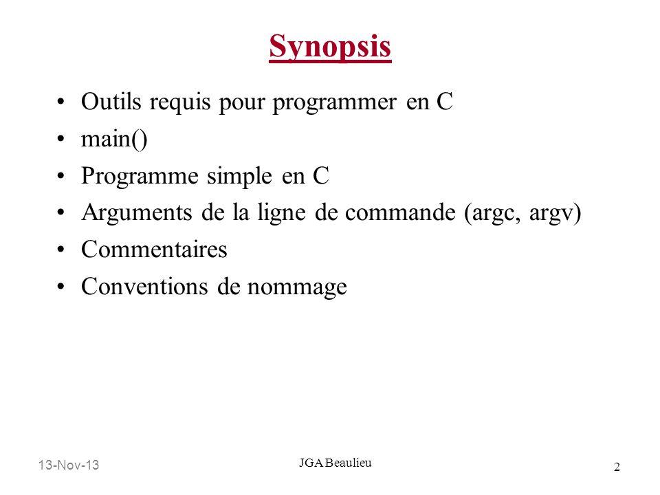 Synopsis Outils requis pour programmer en C main()