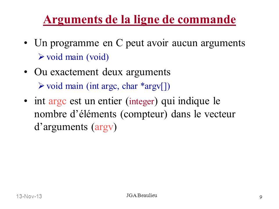 Arguments de la ligne de commande