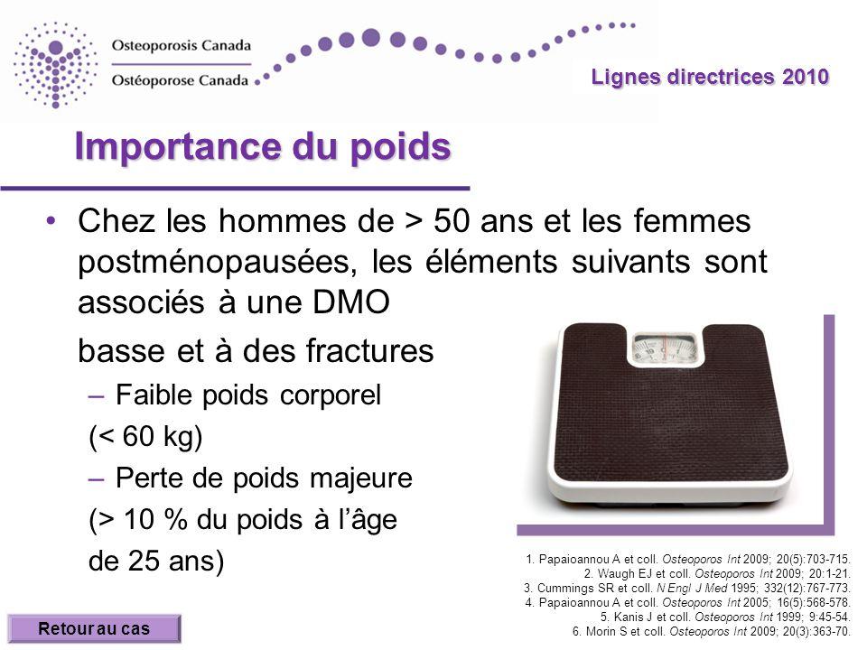 Lignes directrices 2010 Importance du poids.