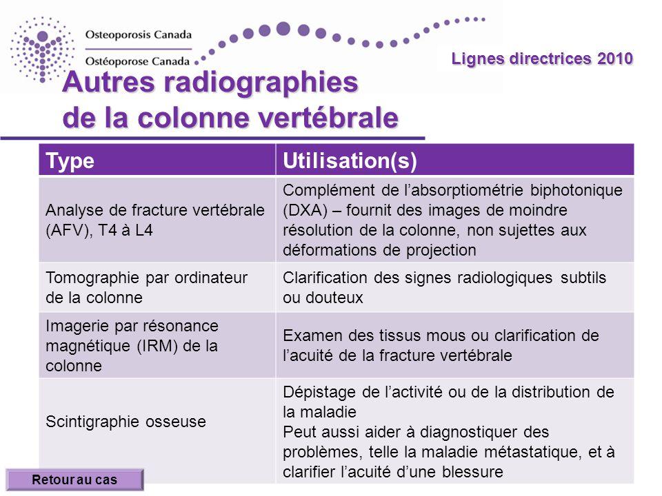 Autres radiographies de la colonne vertébrale