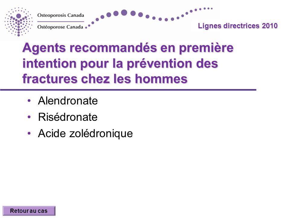 Agents recommandés en première intention pour la prévention des fractures chez les hommes