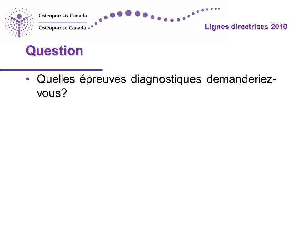 Question Quelles épreuves diagnostiques demanderiez-vous
