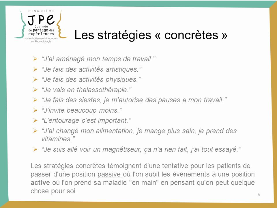Les stratégies « concrètes »