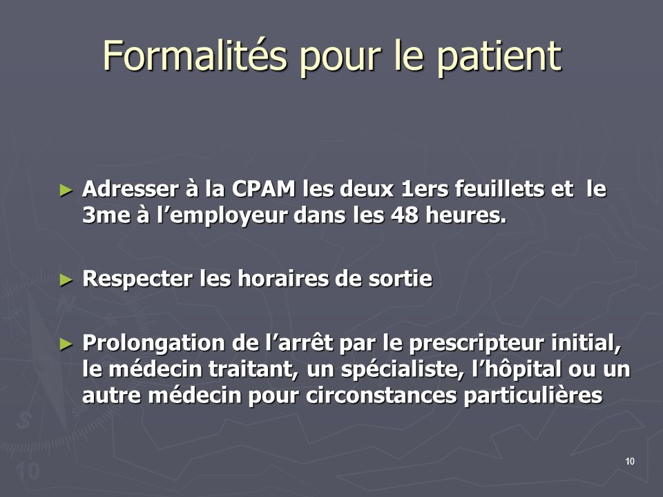 Formalités pour le patient