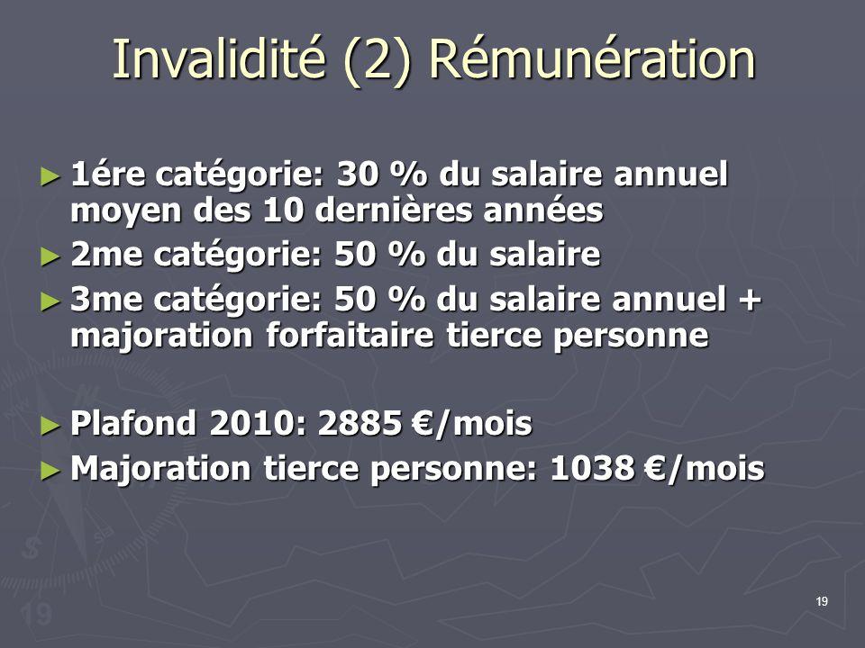 Invalidité (2) Rémunération