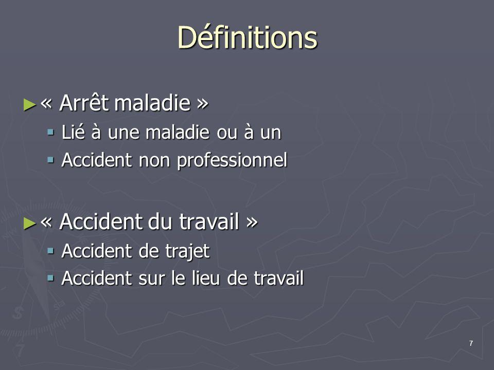 Définitions « Arrêt maladie » « Accident du travail »