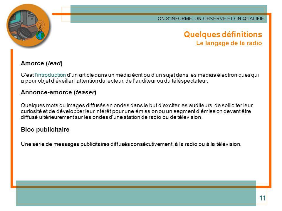 Quelques définitions 11 Le langage de la radio Amorce (lead)