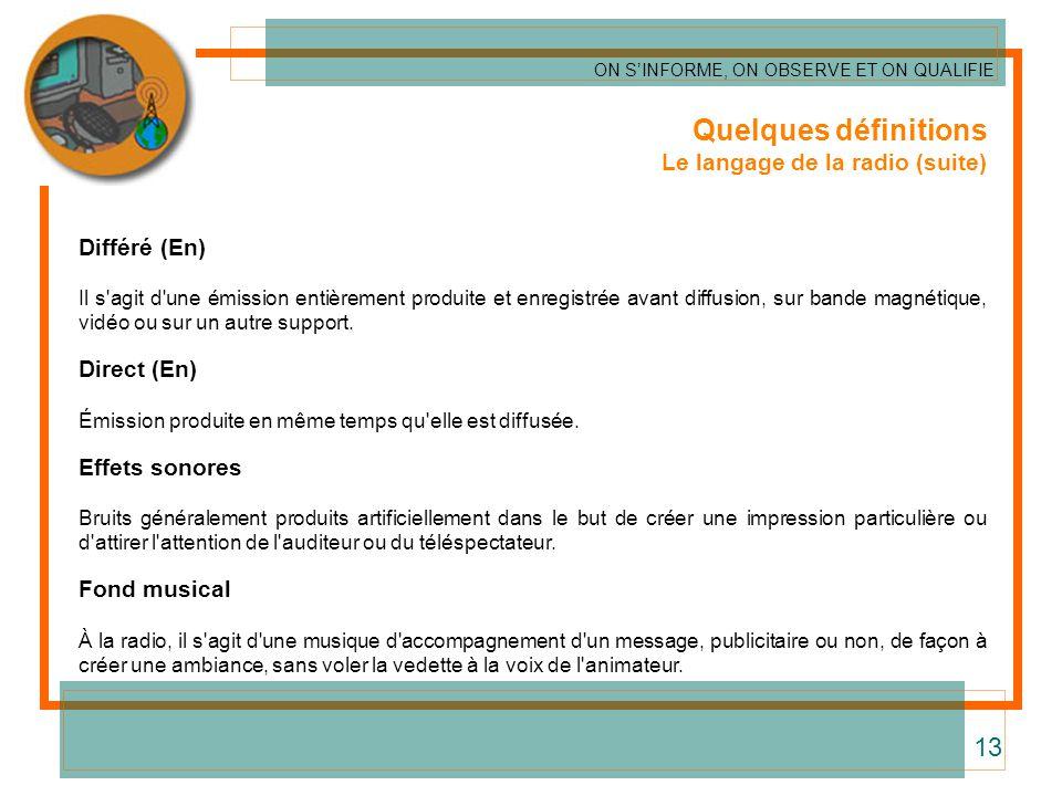 Quelques définitions 13 Le langage de la radio (suite) Différé (En)