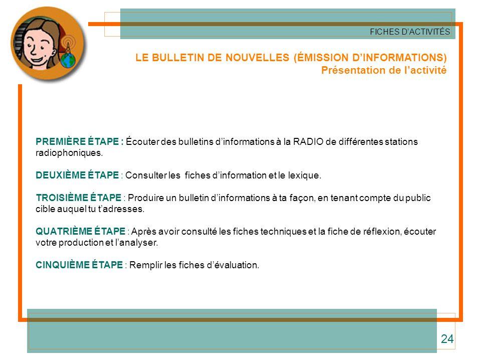 24 LE BULLETIN DE NOUVELLES (ÉMISSION D'INFORMATIONS)