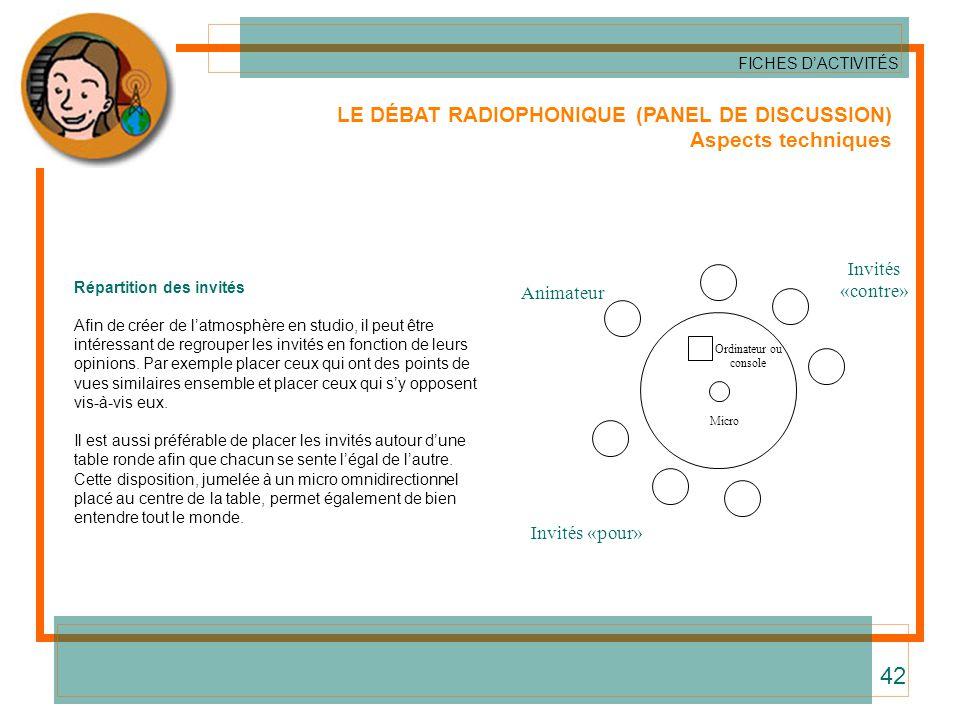 42 LE DÉBAT RADIOPHONIQUE (PANEL DE DISCUSSION) Aspects techniques