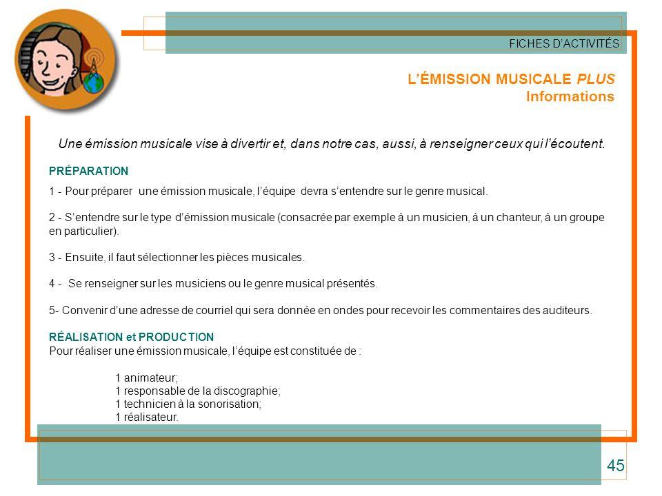 45 L'ÉMISSION MUSICALE PLUS Informations