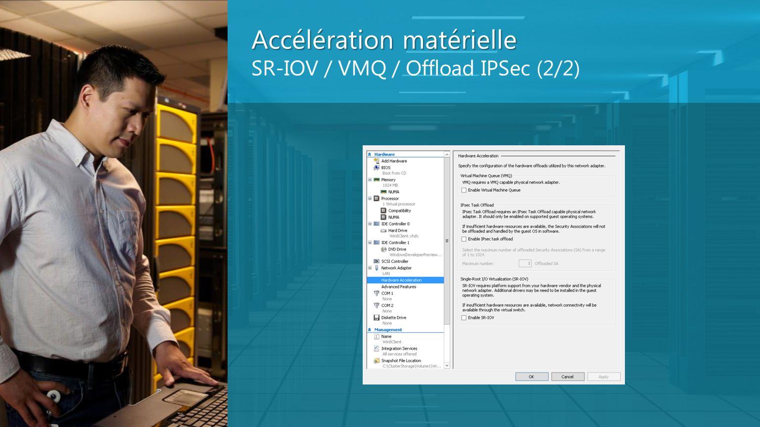 Accélération matérielle SR-IOV / VMQ / Offload IPSec (2/2)