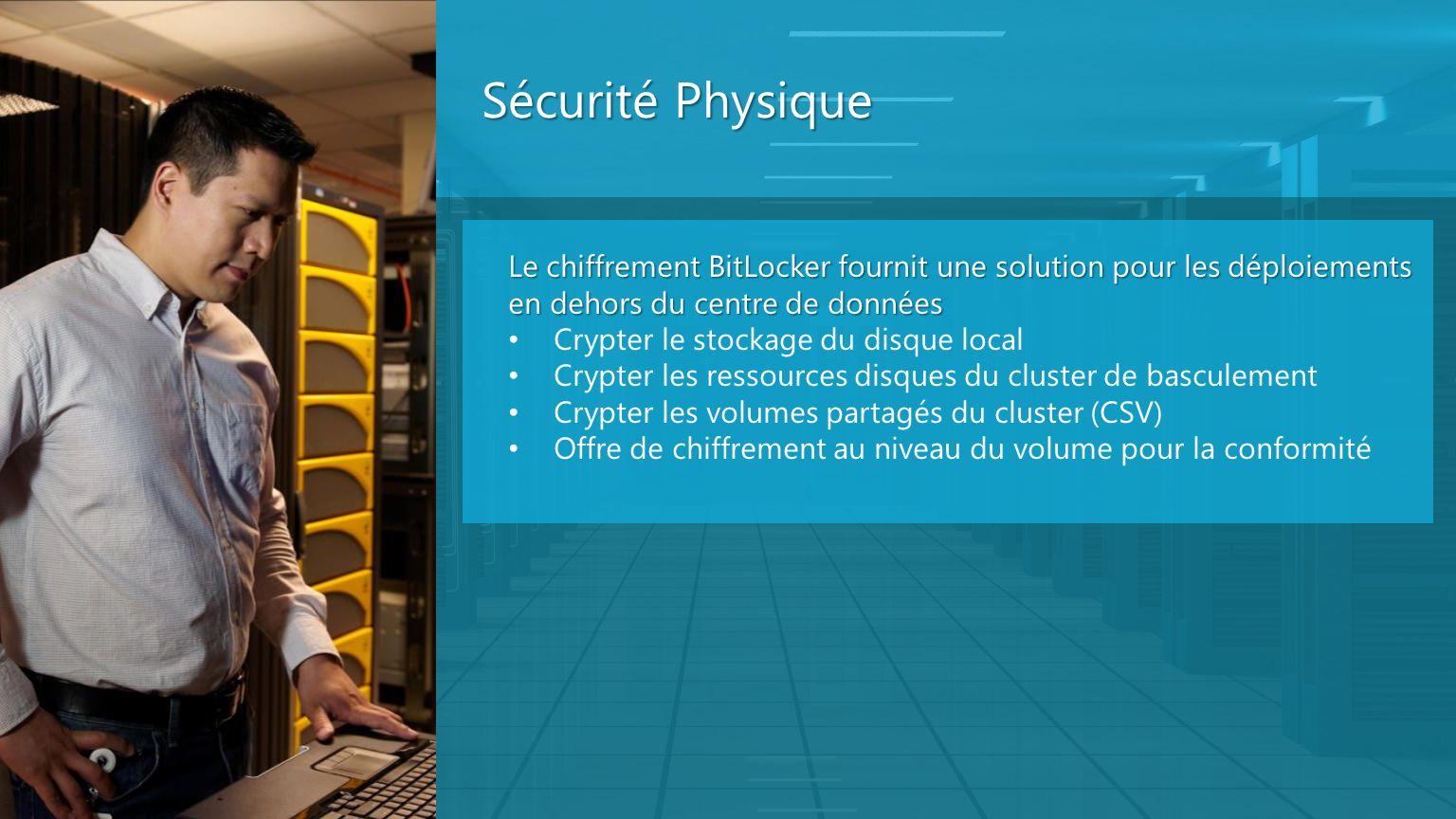 Sécurité Physique Le chiffrement BitLocker fournit une solution pour les déploiements en dehors du centre de données.