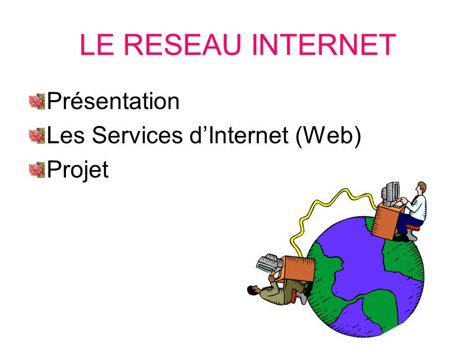 LE RESEAU INTERNET Présentation Les Services d'Internet (Web) Projet