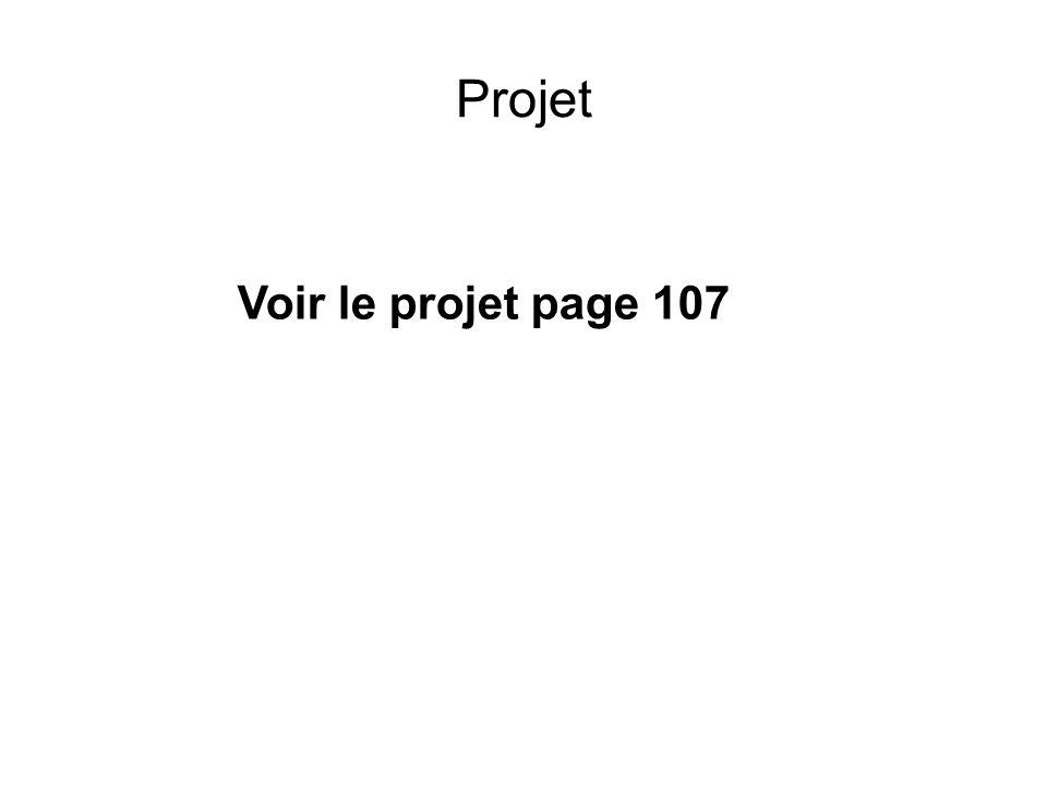 Projet Voir le projet page 107