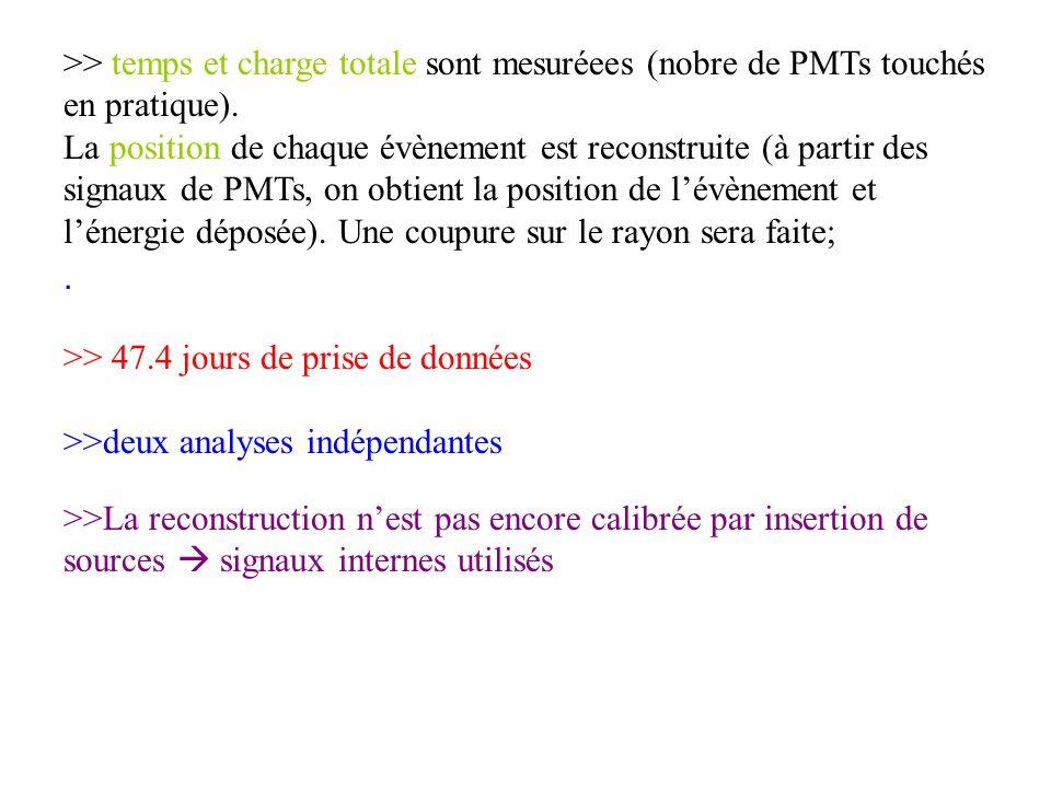 >> temps et charge totale sont mesuréees (nobre de PMTs touchés en pratique).