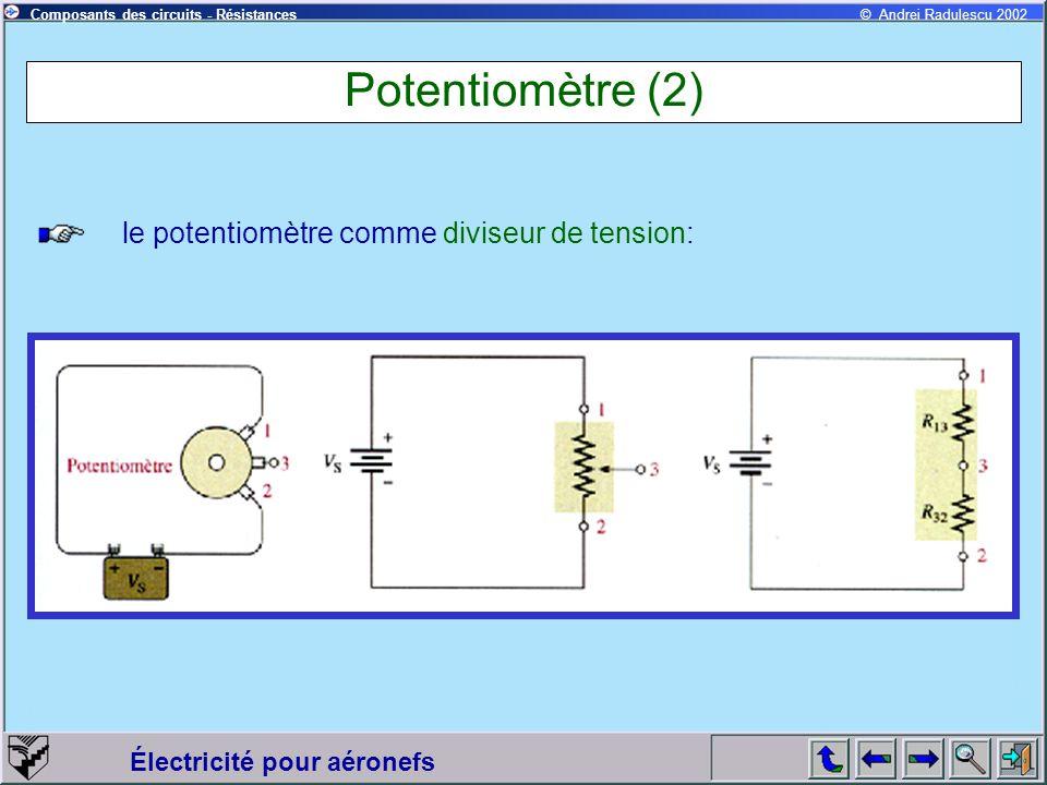 Potentiomètre (2) le potentiomètre comme diviseur de tension: