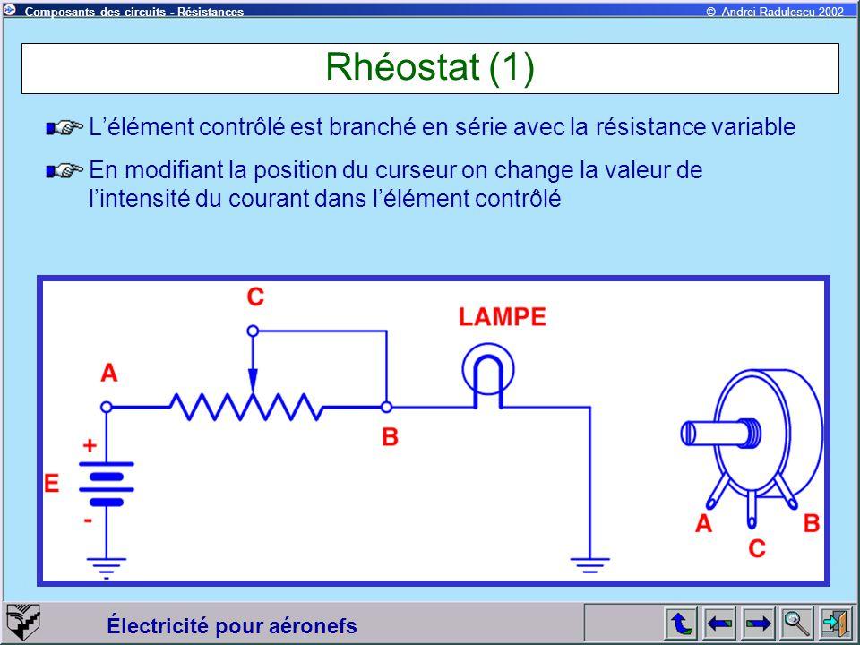 Rhéostat (1) L'élément contrôlé est branché en série avec la résistance variable.