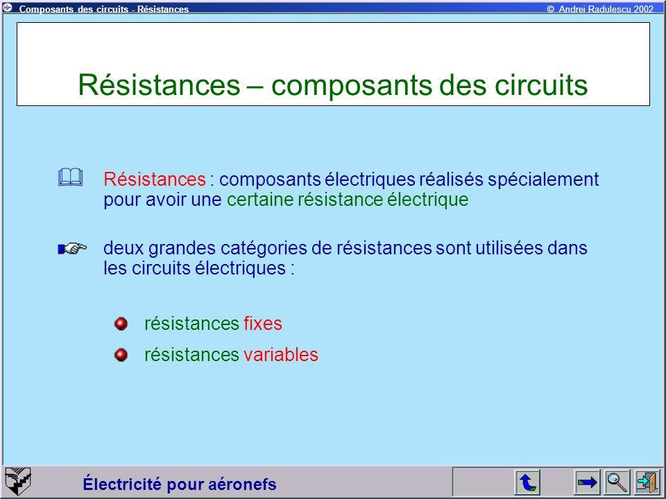 Résistances – composants des circuits