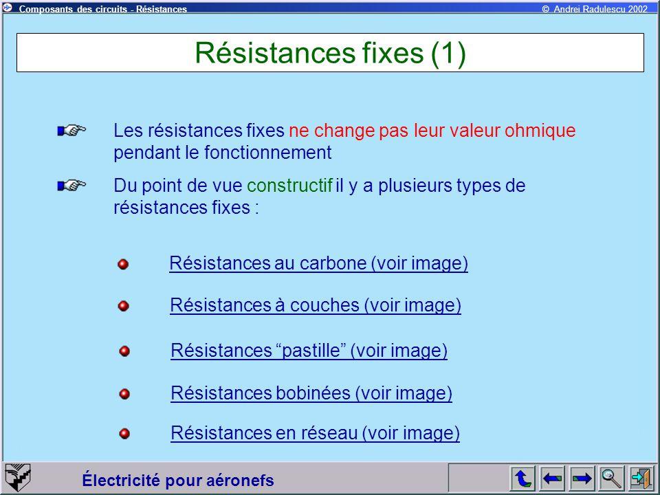 Résistances fixes (1) Les résistances fixes ne change pas leur valeur ohmique pendant le fonctionnement.