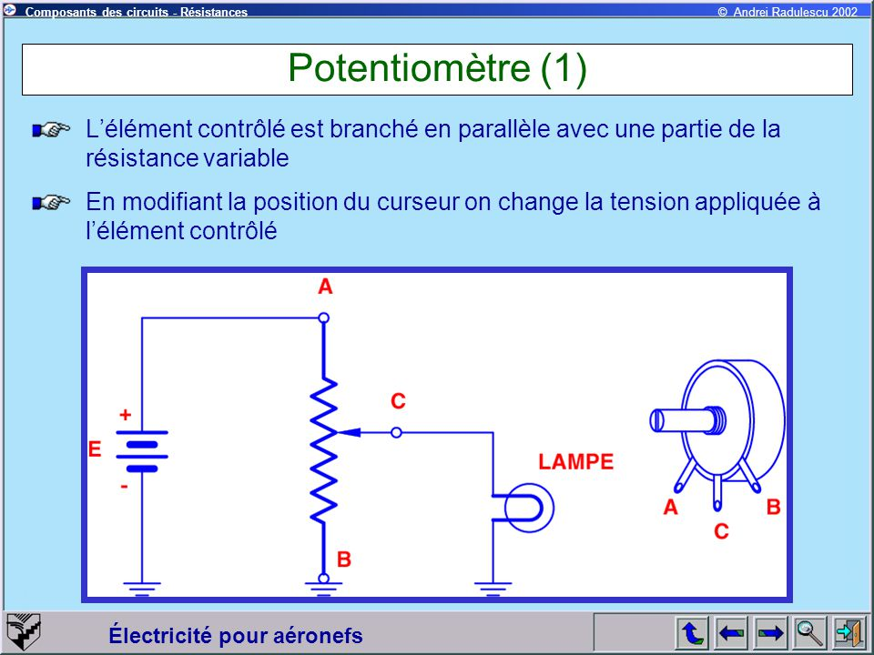 Potentiomètre (1) L'élément contrôlé est branché en parallèle avec une partie de la résistance variable.