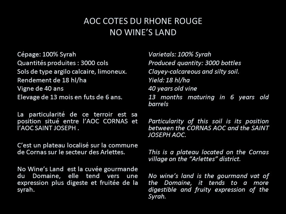 AOC COTES DU RHONE ROUGE NO WINE'S LAND