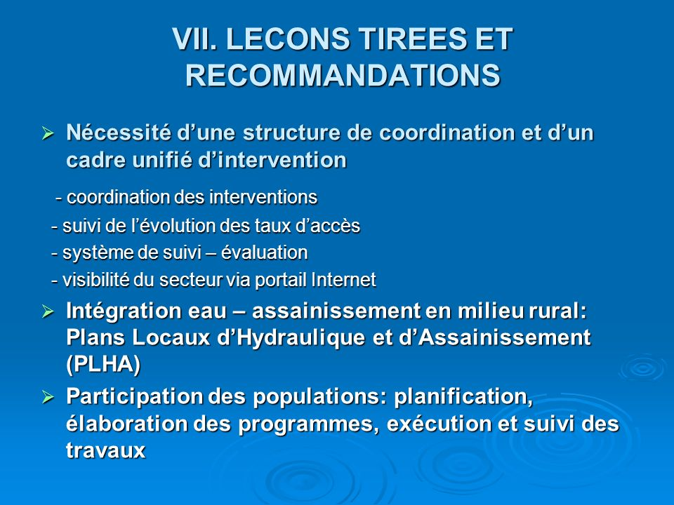 VII. LECONS TIREES ET RECOMMANDATIONS