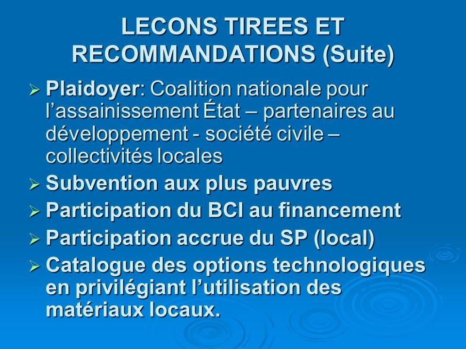 LECONS TIREES ET RECOMMANDATIONS (Suite)