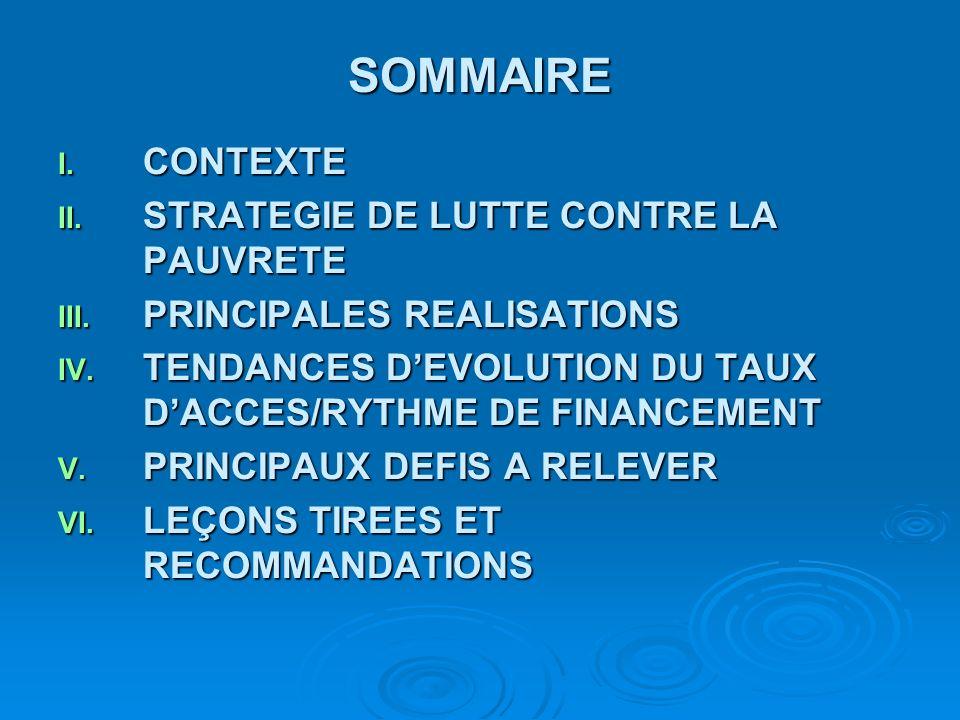 SOMMAIRE CONTEXTE STRATEGIE DE LUTTE CONTRE LA PAUVRETE