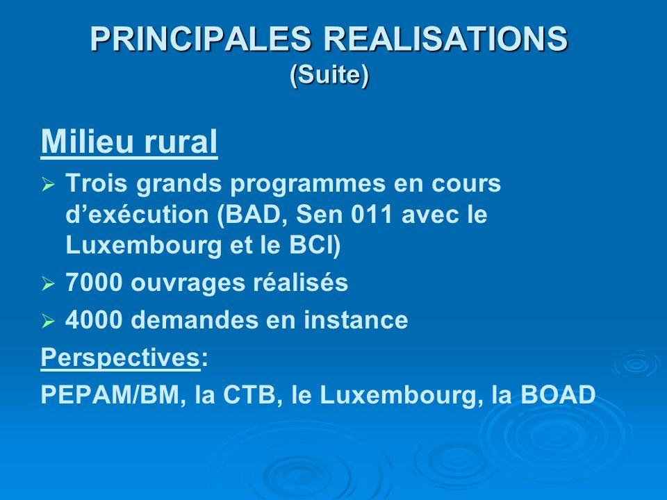 PRINCIPALES REALISATIONS (Suite)